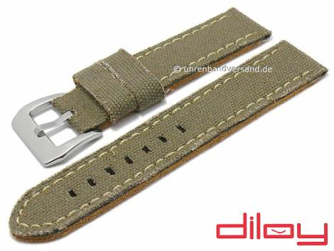 Watch strap 22mm oliv green textile/leather Jeans look light stitching by DILOY (width of buckle 22 mm) - Bild vergrößern