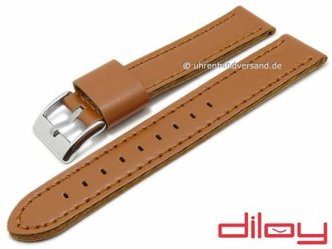 Watch strap 22mm light brown synthetics leather like VEGAN stitched by DILOY (width of buckle 22 mm) - Bild vergrößern