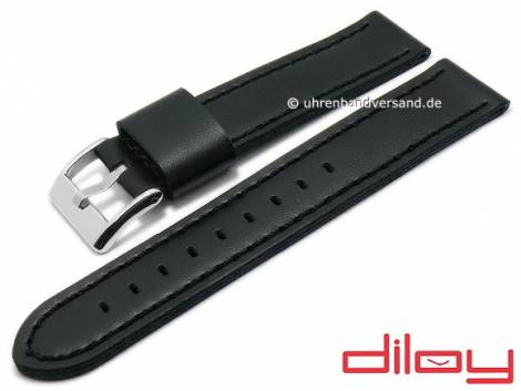 Watch strap 24mm black synthetics leather like VEGAN stitched by DILOY (width of buckle 24 mm) - Bild vergrößern