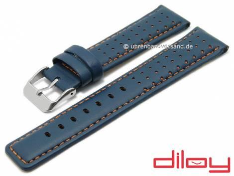 Watch strap 24mm blue leather racing look orange stitching DILOY (width of buckle 22 mm) - Bild vergrößern