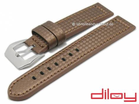 Watch strap 24mm brown leather carbon look stitched by DILOY (width of buckle 24 mm) - Bild vergrößern