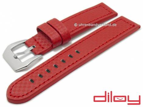 Watch strap 24mm red leather carbon look stitched by DILOY (width of buckle 24 mm) - Bild vergrößern