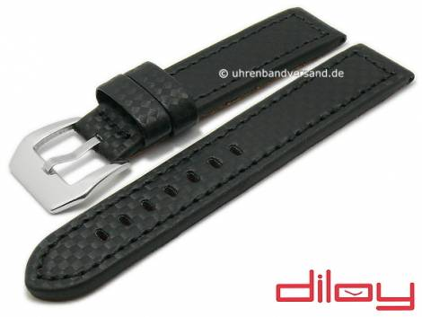 Watch strap 24mm black leather carbon look stitched by DILOY (width of buckle 24 mm) - Bild vergrößern