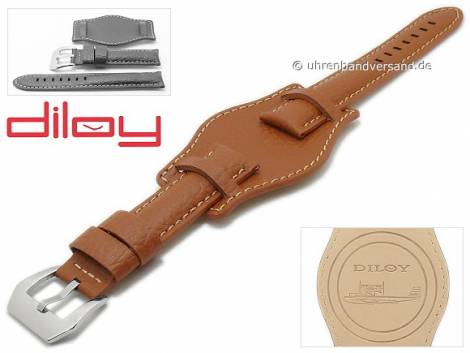 Watch strap 20mm light brown leather grained light stitching with leather pad by DILOY (width of buckle 20 mm) - Bild vergrößern
