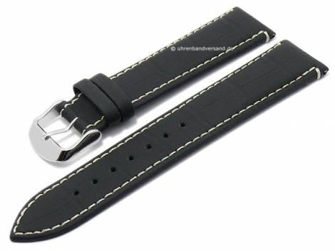 Watch strap -Monterrey- 20mm black leather caoutchouc coated alligator grain by DI-MODELL (width of buckle 18 mm) - Bild vergrößern