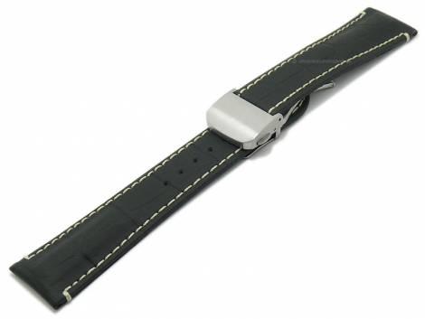 Watch strap -Monterrey FS- 22mm black leather caoutchouc coated alligator grain by DI-MODELL (width of buckle 18 mm) - Bild vergrößern