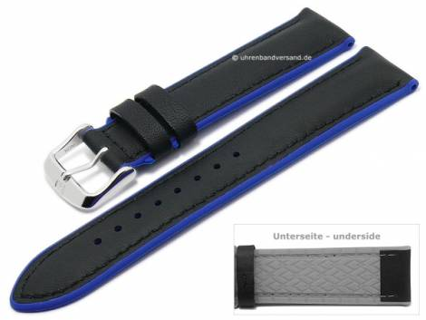 Watch strap -Daytona- 20mm black leather/silicone smooth blue sides by DI-MODELL (width of buckle 18 mm) - Bild vergrößern