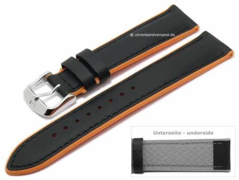 Watch strap -Daytona- 20mm black leather/silicone smooth orange sides by DI-MODELL (width of buckle 18 mm) - Bild vergrößern