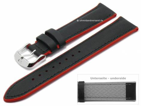 Watch strap -Daytona- 20mm black leather/silicone smooth red sides by DI-MODELL (width of buckle 18 mm) - Bild vergrößern