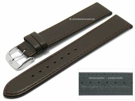 Watch strap -Ovino- 22mm dark brown genuine lamb leather smooth stitched by DI-MODELL (width of buckle 20 mm) - Bild vergrößern