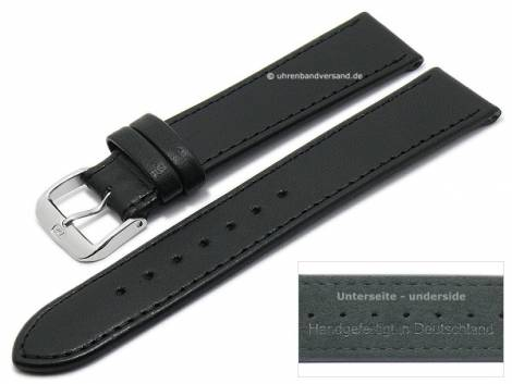 Watch strap XS -Ovino- 18mm black genuine lamb leather smooth stitched by DI-MODELL (width of buckle 16 mm) - Bild vergrößern