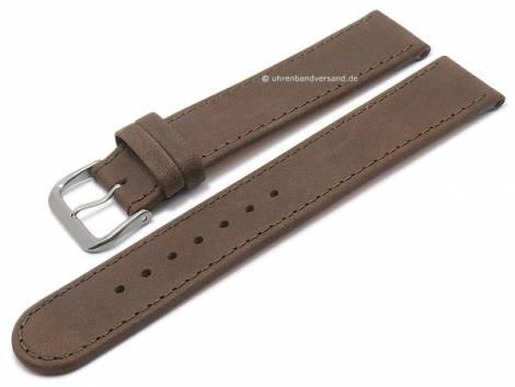 Watch strap -Natural- 16mm dark brown leather vegetable tanned with titanium buckle DI-MODELL (width of buckle 16 mm) - Bild vergrößern