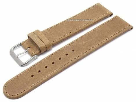 Watch strap XS -Natural- 16mm brown leather vegetable tanned with titanium buckle DI-MODELL (width of buckle 16 mm) - Bild vergrößern