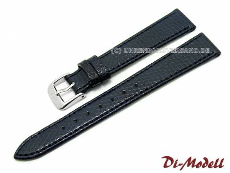 Watch strap 15mm dark blue Di-Modell -Brillant- lizard grain (width of buckle 12 mm) - Bild vergrößern
