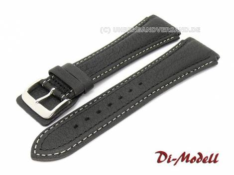 Watch band 22mm black Di-Modell -Pilot- light contrast stitching (width of buckle 20 mm) - Bild vergrößern