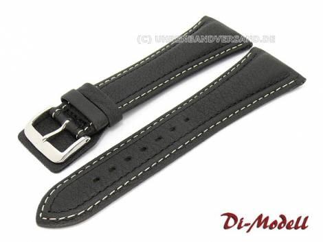 Watch band 28mm black Di-Modell -Pilot- light contrast stitching (width of buckle 20 mm) - Bild vergrößern