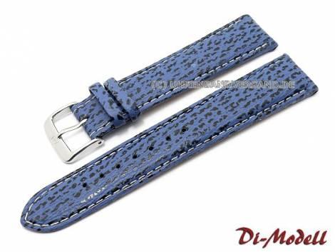 Watch band 22mm XL royal blue Di-Modell -Haifisch Waterproof- genuine shark light stitching (width of buckle 18 mm) - Bild vergrößern