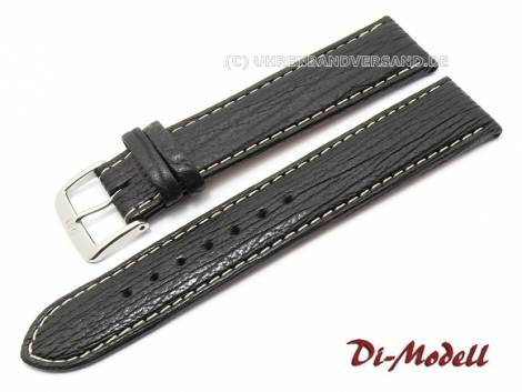 Watch band 22mm XL black Di-Modell -Haifisch Waterproof- genuine shark light stitching (width of buckle 18 mm) - Bild vergrößern