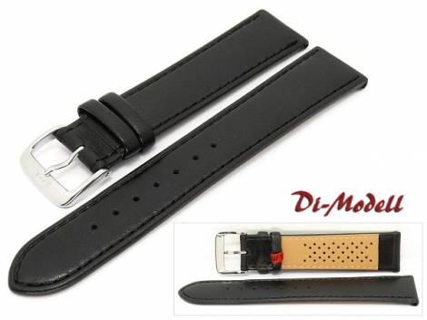 Watch band 18mm black Di-Modell -Calf waterproof- smooth surface stitched (width of buckle 16 mm) - Bild vergrößern