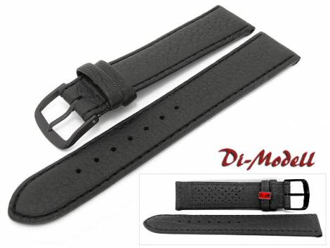 Watch strap XL -Sport waterproof- 22mm black leather grained stitched by DI-MODELL (width of buckle 18 mm) - Bild vergrößern
