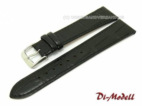 Watch band 19mm black Di-Modell -Caracas- Alligator-grain stitched (width of buckle 16 mm) - Bild vergrößern