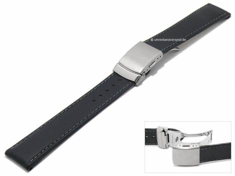 Watch band 20mm black by Di-Modell -Oregon FS- Smooth Surface silver clasp (width of buckle 18 mm) - Bild vergrößern
