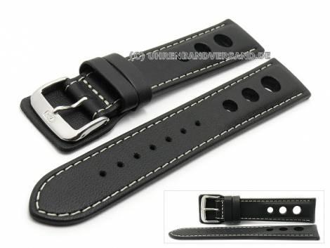 Watch strap -Avus- 22mm black leather racing look light stitching by DI-MODELL (width of buckle 20 mm) - Bild vergrößern