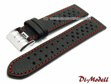 Watch band 19mm black by Di-Modell -Rallye waterproof- red stitching (width of buckle 18 mm) - Bild vergrößern