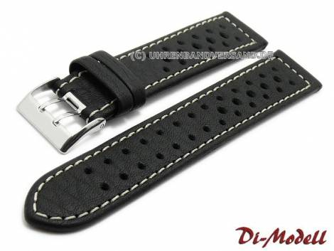 Watch band 22mm black by Di-Modell -Rallye waterproof- light stitching (width of buckle 20 mm) - Bild vergrößern