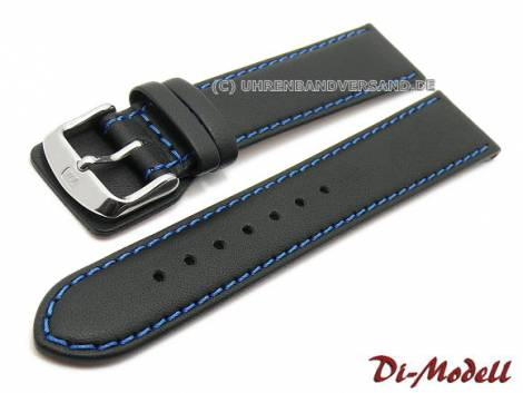 Watch strap -Denver- 22mm black leather smooth blue stitching by DI-MODELL (width of buckle 18 mm) - Bild vergrößern