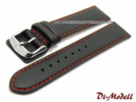 Watch strap -Denver- 22mm black leather smooth red stitching by DI-MODELL (width of buckle 18 mm) - Bild vergrößern