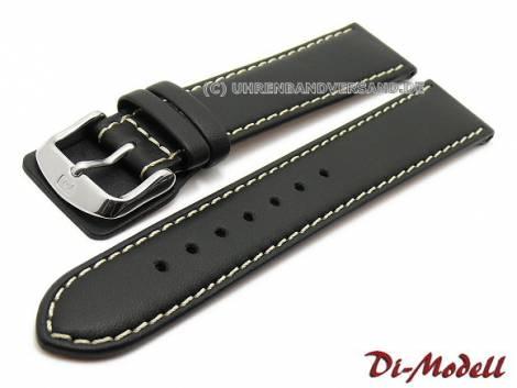 Watch strap -Denver- 22mm black leather smooth light stitching by DI-MODELL (width of buckle 18 mm) - Bild vergrößern