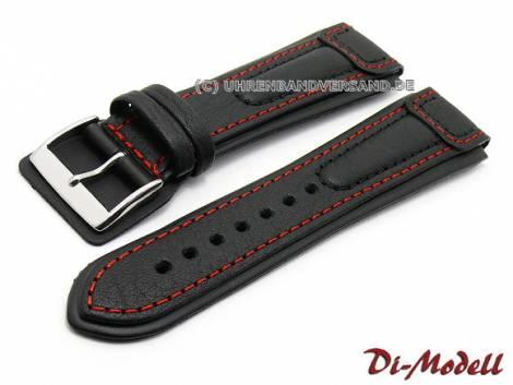 Watch strap 22mm black by Di-Modell -Chronissimo waterproof- red stitching (width of buckle 20 mm) - Bild vergrößern
