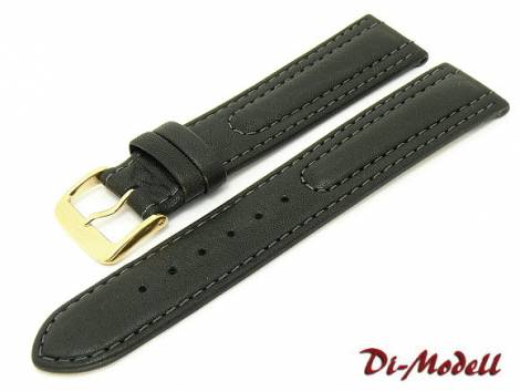 Watch band XL 22mm black by Di-Modell -Siena- padded stitched (width of buckle 18 mm) - Bild vergrößern
