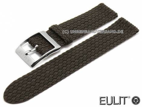 Watch strap -Palma Pacific- 20mm dark brown synthetic textile smooth fashionable EULIT (width of buckle 20 mm) - Bild vergrößern