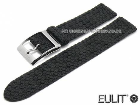 Watch strap -Palma Pacific- 20mm black synthetic textile smooth fashionable EULIT (width of buckle 20 mm) - Bild vergrößern