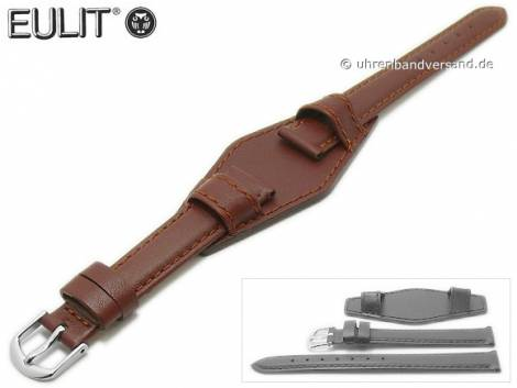 Watch strap 14mm brown smooth stitched with leather pad by EULIT (width of buckle 12 mm) - Bild vergrößern