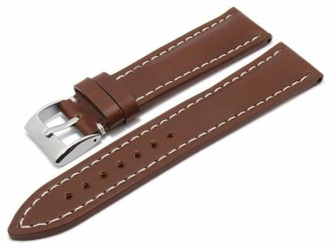 Watch strap -Büffel- 24mm brown genuine buffalo leather smooth light stitching by EULUX (width of buckle 20 mm) - Bild vergrößern