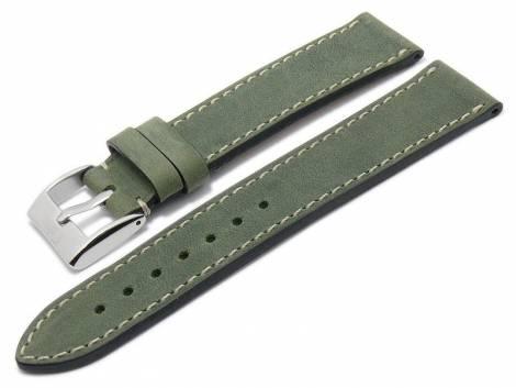 Watch strap -Nubuk- 22mm green nubuck leather matt light stitching by EULUX (width of buckle 20 mm) - Bild vergrößern