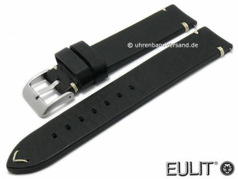 Watch strap -Retro- 20mm black leather vintage look with easy change spring bars by EULIT (width of buckle 20 mm) - Bild vergrößern
