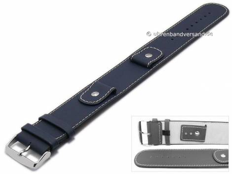 Watch strap -Cliffhanger- 18mm dark blue leather smooth light stitching with leather pad - Bild vergrößern