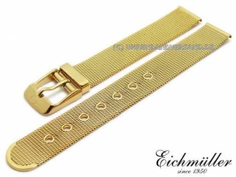 Watch strap 14mm golden stainless steel mesh polished fine structure with buckle by BandOh - Bild vergrößern