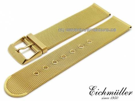 Watch strap 18mm golden stainless steel mesh polished fine structure with buckle by BandOh - Bild vergrößern