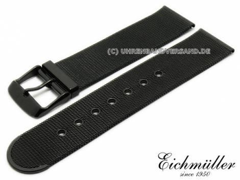 Watch strap 18mm black stainless steel mesh polished fine structure with buckle by BandOh - Bild vergrößern