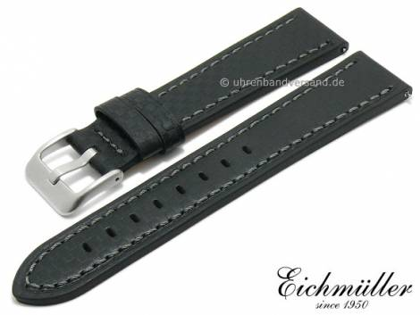 Watch strap 24mm EASY-CLICK black leather carbon look grey stitching by BandOh (width of buckle 22 mm) - Bild vergrößern