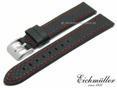 Watch strap 24mm EASY-CLICK black leather carbon look red stitching by BandOh (width of buckle 22 mm) - Bild vergrößern