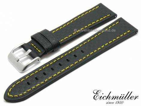 Watch strap 24mm EASY-CLICK black leather carbon look yellow stitching by BandOh (width of buckle 22 mm) - Bild vergrößern