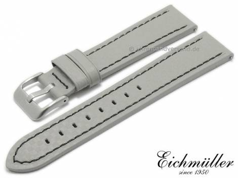 Watch strap 24mm EASY-CLICK light grey leather carbon look black stitching by BandOh (width of buckle 22 mm) - Bild vergrößern