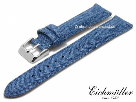 Watch strap 20mm blue textile/leather Jeans look stitched by BandOh (width of buckle 18 mm) - Bild vergrößern