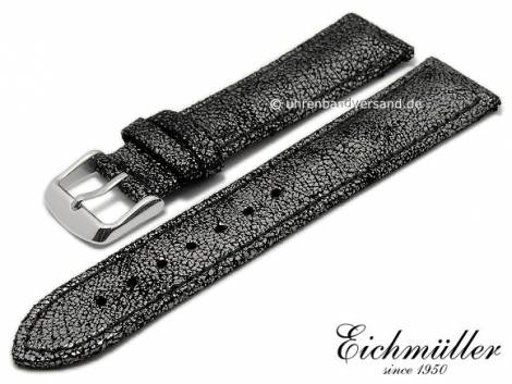 Watch strap 16mm anthracite metallic leather with easy change spring bars grey stitching BandOh (width of buckle 14 mm) - Bild vergrößern